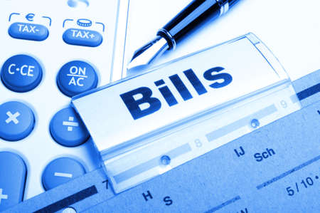 bill or bills word on paper riders showing payment or debts concept  photo