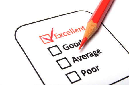 excellent or good marketing customer service survey with red pencil and checkbox photo