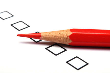 exam results: consumer survey with questionnaire checkbox to improve sales Stock Photo
