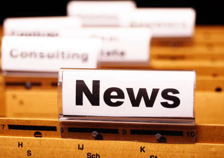 news or newsletter concept with word on folder register in business office Stock Photo - 9506031