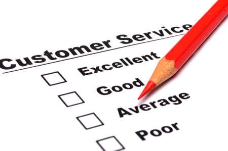 チェック ボックス表示満足概念と赤鉛筆で顧客サービス調査