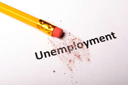 unemployment word and eraser showing job or work concept Stock Photo - 9594646