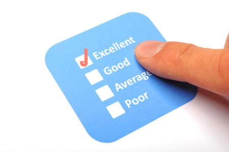 tickbox: checkbox and red pen showing customer service survey or satisfaction concept to improve sales