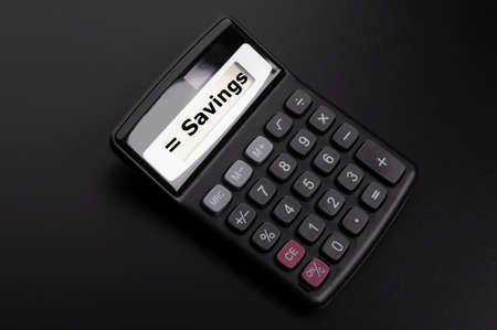 save money concpet with word savings on calculator Stock Photo - 9771553
