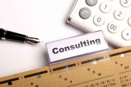 Beratung Wort auf Business büro Ordner Fahrer zeigen finanziellen Erfolgskonzept