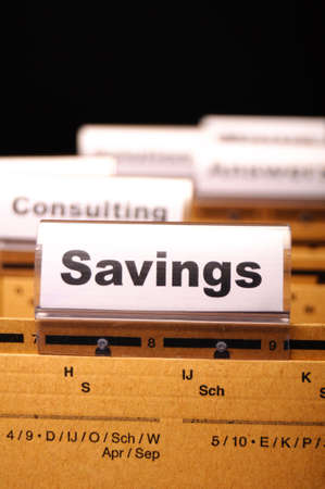 savings word on business folder showing saving money concept Stock Photo - 9771563