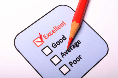 customer satisfaction survey form with checkbox showing marketing concept photo