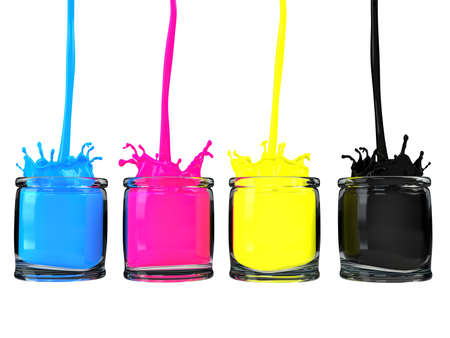 cmyk paint vessels Stock Photo - 9570323