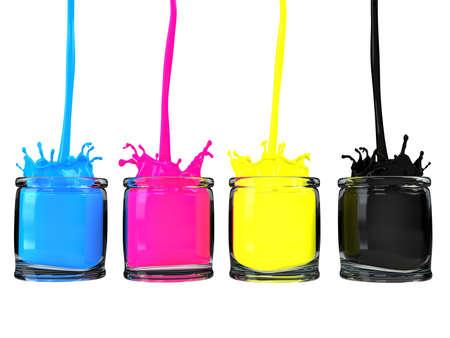 cmyk paint vessels Stock Photo - 9570323