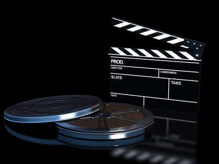 synchronously: clapperboard and film reel