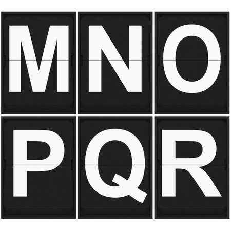 r p m: flip clock letters M N O P Q R