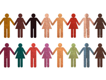 pedagogy: Colorful Human Chain of integration  Stock Photo