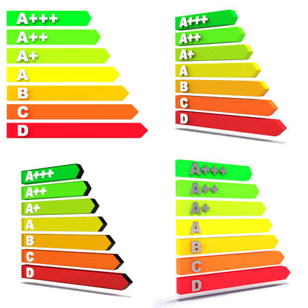 grading: New EU-Regulation Energy Efficiency Class Bars on white with soft shadow