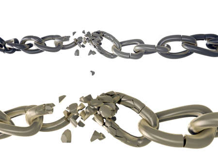 breaking chains on white