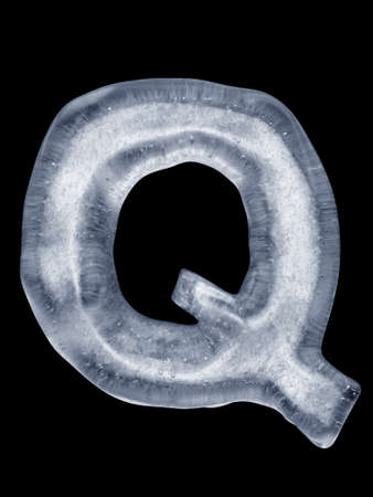 coldly: Ice Letter Q Stock Photo