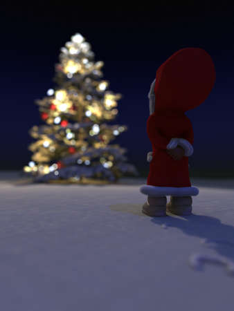 Stunning puppet in front of illuminated Christmastree