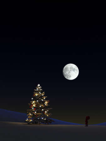 Illuminated Christmas tree in snow under starry sky and full moon