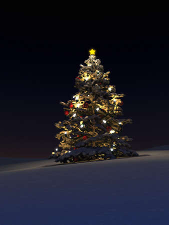snow field: Illuminated Christmas tree in snow