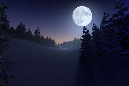 Winter scene with full moon