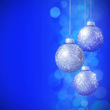 Schneeflocken Pailletten besetzte, blaue Weihnachtskugeln 3D photo
