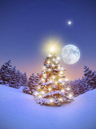 weihnachtsbaum: Geschmückter Christbaum im verschneiten Wald 3D