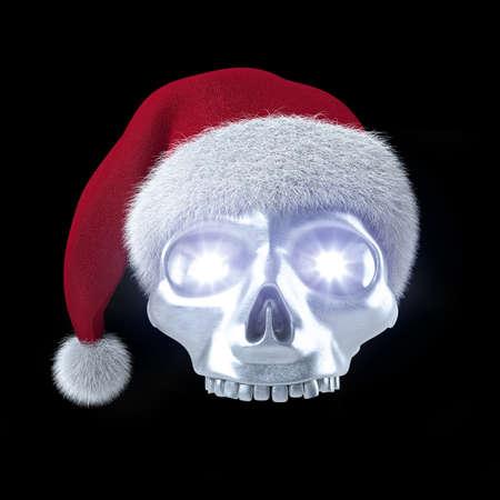 Silberner Totenschädel mit Weihnachtsmann Mütze auf schwarz 3D
