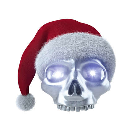 schwarz: Silberner Totenschädel mit Weihnachtsmann Mütze auf weiß 3D