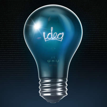 3D green light bulb idea Stock Photo - 15745468