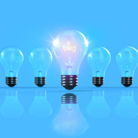 Bright light with idea out of line 3D Stock Photo - 15745436