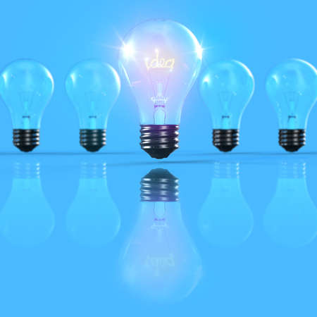 Bright light with idea out of line 3D Stock Photo - 15745439