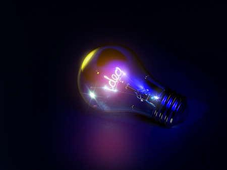 Bright idea light bulb in 3D Stock Photo - 15745466