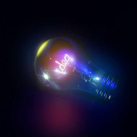 Bright idea light bulb in 3D Stock Photo
