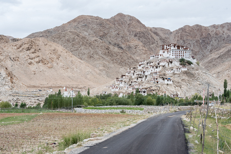 Landscape view of nature mountain road and building in Leh ladakh. North of india. Travel Stock Photo