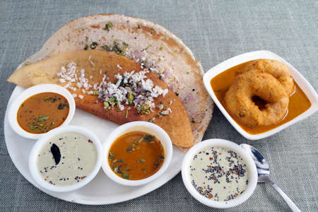 dosa: South Indian staple breakfast spicy dosa vada sambar chutney