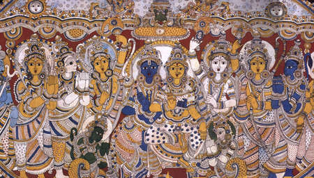 Kalamkari painting of Lord Rama-Sita Stock Photo