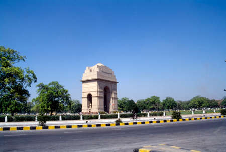 The India Gate (originally called the All India War Memorial) is a war memorial located astride the Rajpath, on the eastern edge of the