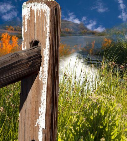 beautiful landscape with fence pole Stock Photo