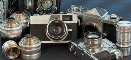 antique cameras on black background Stock Photo - 7638552