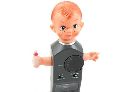 Baby with a sound level meter as body photo