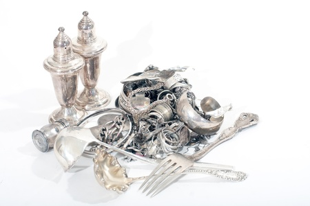 silver jewelry: Silver scrap pile for melt