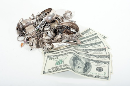 silver jewelry: Silver scrap pile for melt with cash