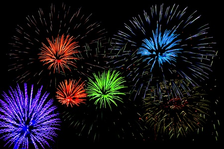 Fireworks display on new years eve or 4th of July Stock Photo