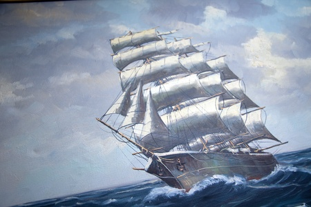 sails: over 100 year antique painting of a sail ship