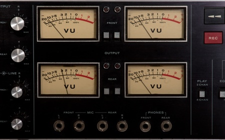 recording studio: 4 vu meters from a recording studio