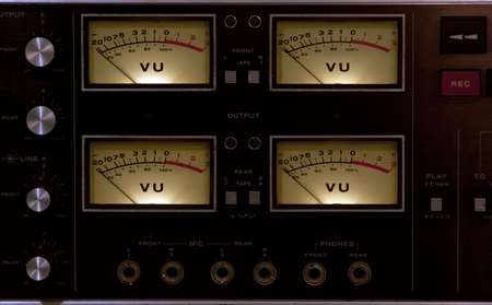 4 vu meters in a recording studio Banco de Imagens