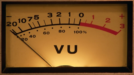 recordings: vintage vu meter with light Stock Photo