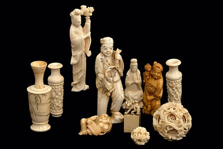 A group of japanese chinese ivory carvings okimono photo