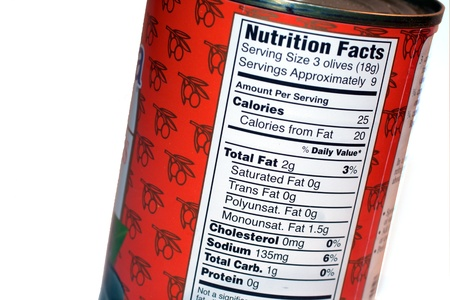 information analysis: nutrition facts label on a can Stock Photo