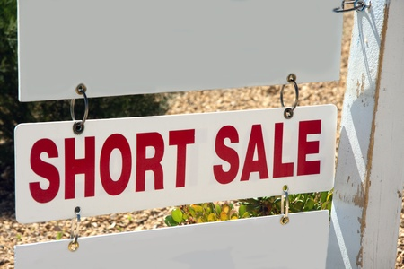 short sale: short sale sign on pole with copy space Stock Photo