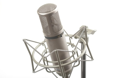Studio microphone on stand with shock mount Stock Photo